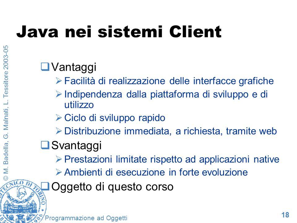18 © M. Badella, G. Malnati, L. Tessitore 2003-05 Programmazione ad Oggetti Java nei sistemi Client Vantaggi Facilità di realizzazione delle interfacc