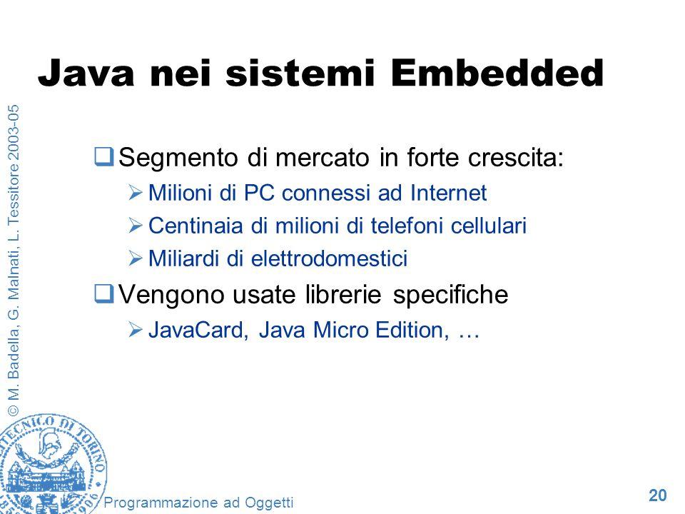 20 © M. Badella, G. Malnati, L. Tessitore 2003-05 Programmazione ad Oggetti Java nei sistemi Embedded Segmento di mercato in forte crescita: Milioni d