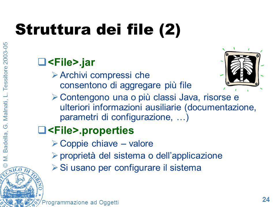 24 © M. Badella, G. Malnati, L. Tessitore 2003-05 Programmazione ad Oggetti Struttura dei file (2).jar Archivi compressi che consentono di aggregare p