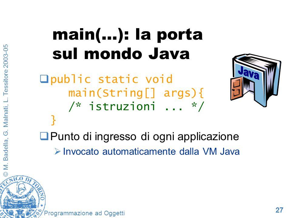 27 © M. Badella, G. Malnati, L. Tessitore 2003-05 Programmazione ad Oggetti main(…): la porta sul mondo Java public static void main(String[] args){ /
