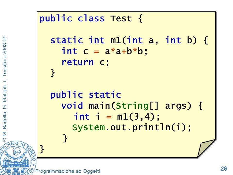 29 © M. Badella, G. Malnati, L. Tessitore 2003-05 Programmazione ad Oggetti public class Test { static int m1(int a, int b) { int c = a*a+b*b; return