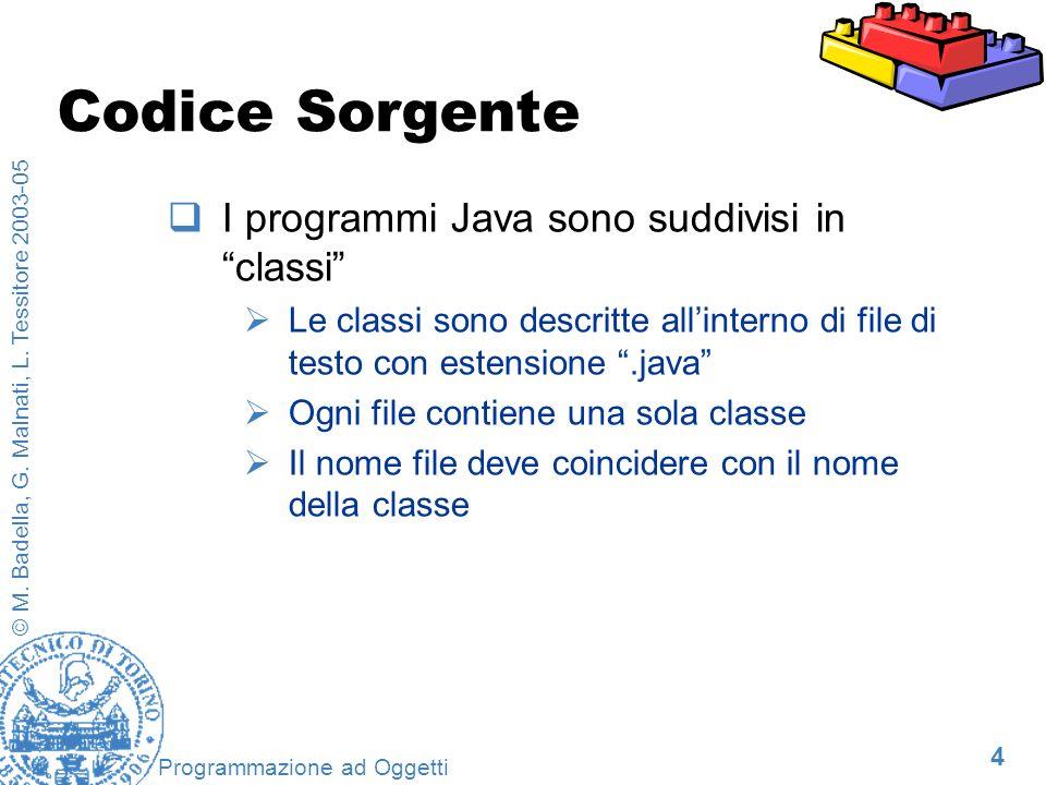4 © M. Badella, G. Malnati, L. Tessitore 2003-05 Programmazione ad Oggetti Codice Sorgente I programmi Java sono suddivisi in classi Le classi sono de