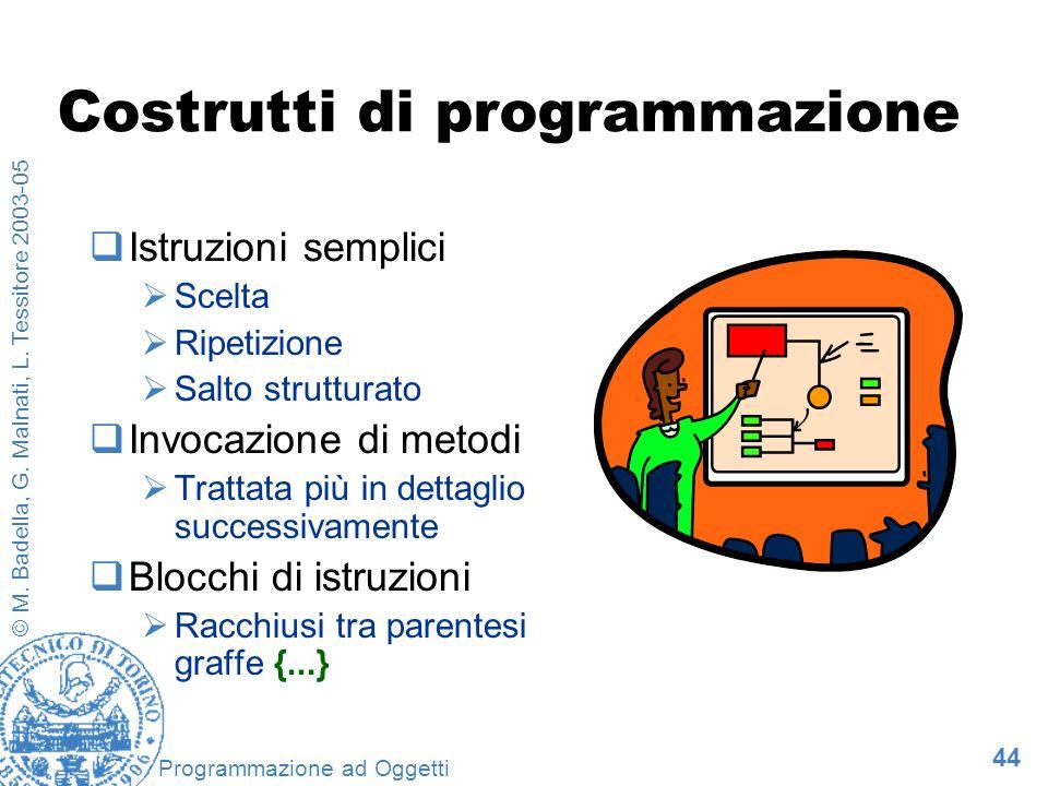 44 © M. Badella, G. Malnati, L. Tessitore 2003-05 Programmazione ad Oggetti Costrutti di programmazione Istruzioni semplici Scelta Ripetizione Salto s