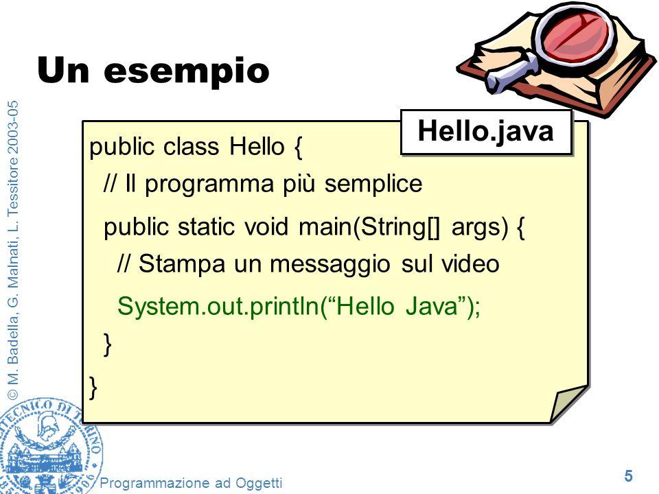 5 © M. Badella, G. Malnati, L. Tessitore 2003-05 Programmazione ad Oggetti Un esempio public class Hello { // Il programma più semplice public static