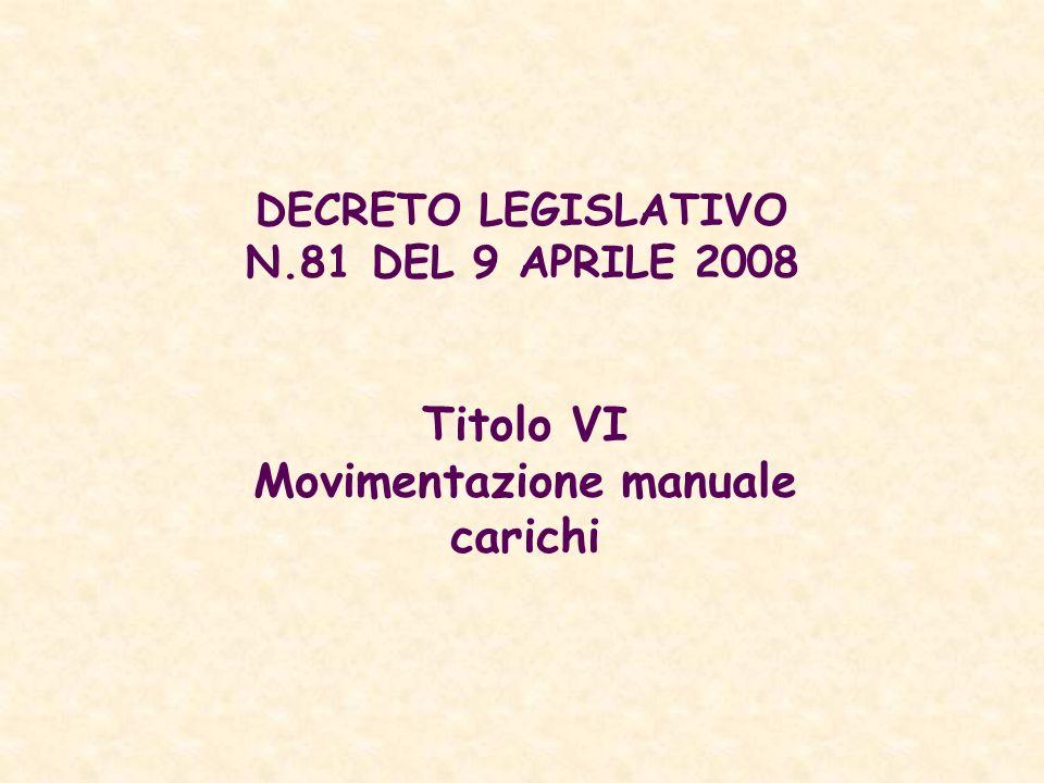 DECRETO LEGISLATIVO N.81 DEL 9 APRILE 2008 Titolo VI Movimentazione manuale carichi