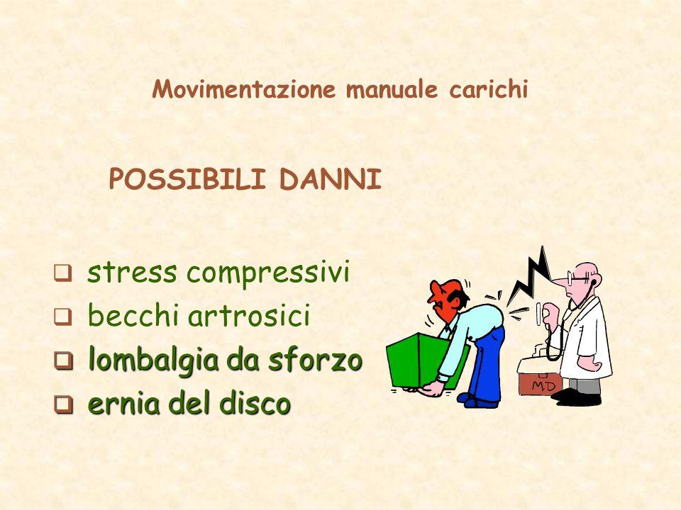 Movimentazione manuale carichi POSSIBILI DANNI stress compressivi becchi artrosici lombalgia da sforzo lombalgia da sforzo ernia del disco ernia del d