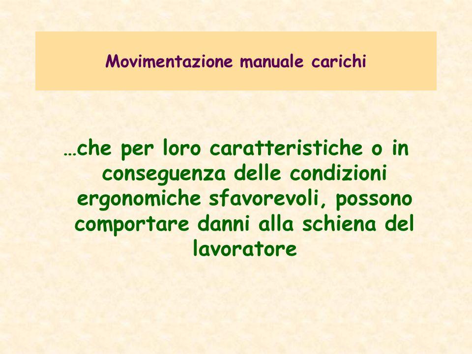 Movimentazione manuale carichi D.Lgs.151/2001 Miglioramento della sicurezza e della salute sul lavoro delle lavoratrici gestanti, puerpere o in periodo di allattamento.