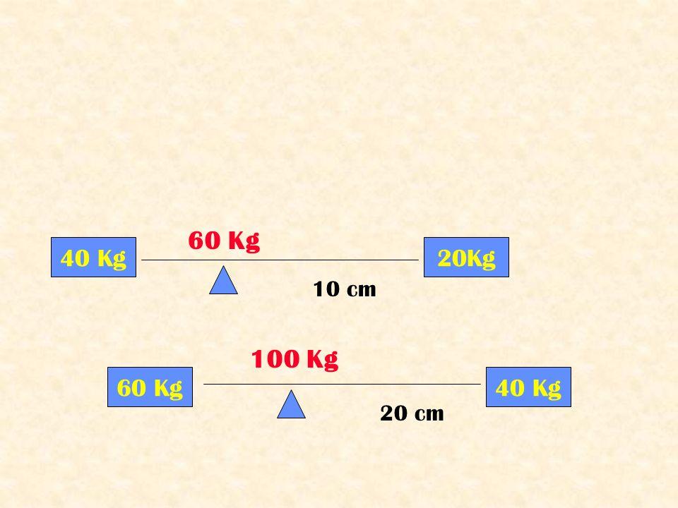 40 Kg20Kg 60 Kg 20 cm 60 Kg40 Kg 10 cm 100 Kg