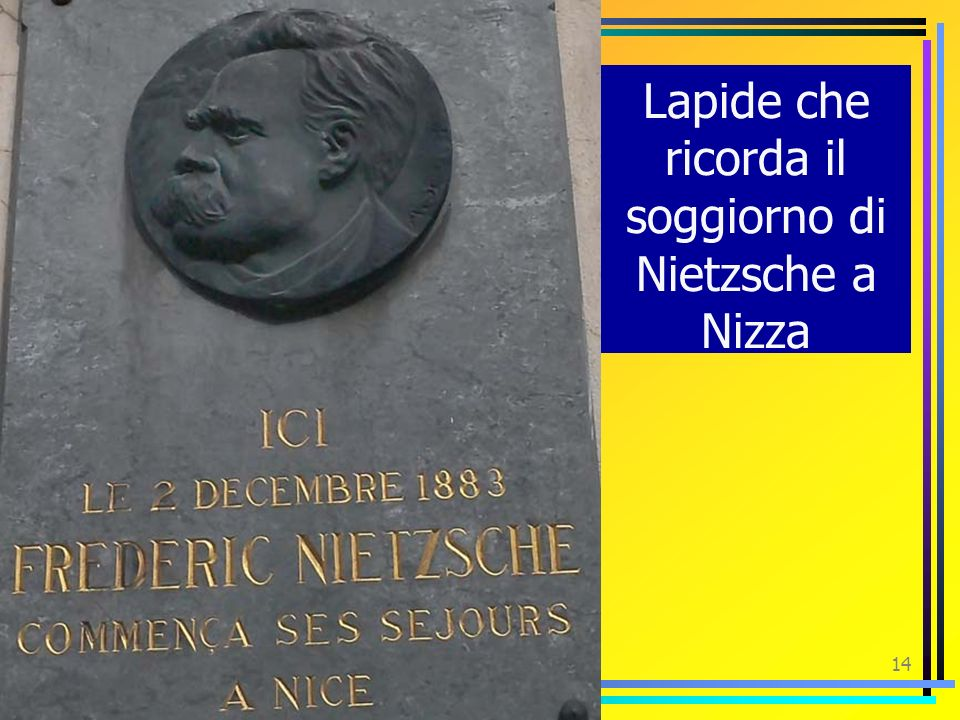 13 Nel 1876, a causa di frequenti crisi nervose abbandona linsegnamento. Viaggia molto in giro per lEuropa, viene spesso in Italia. Amico di Richard W