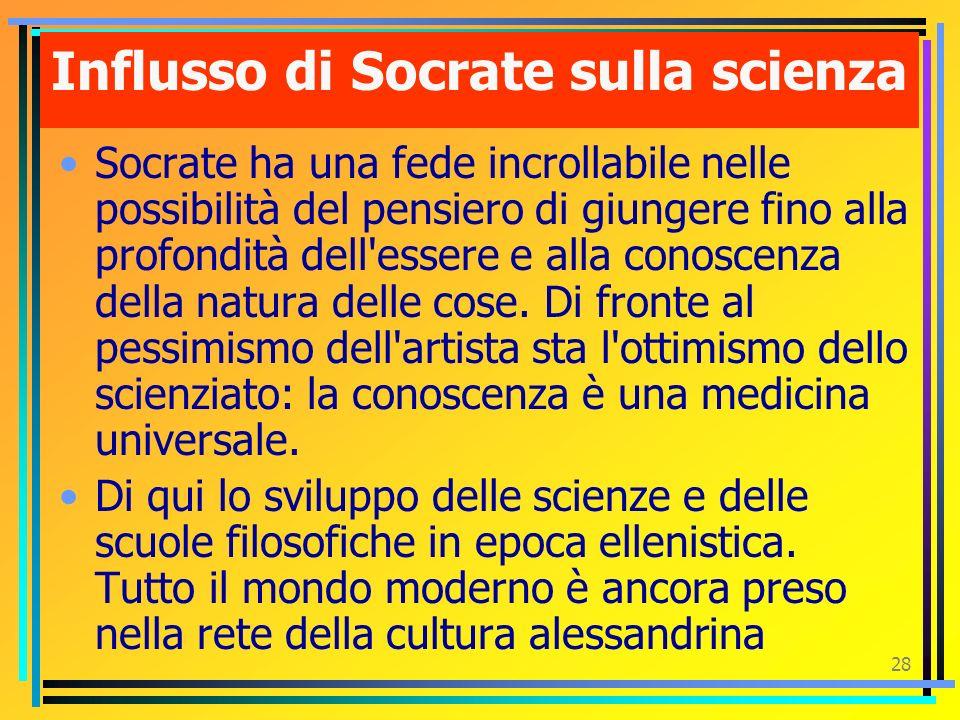 27 Socrate disse di no alla vitaCausa di questa rivoluzione fu il principio estetico socratico: