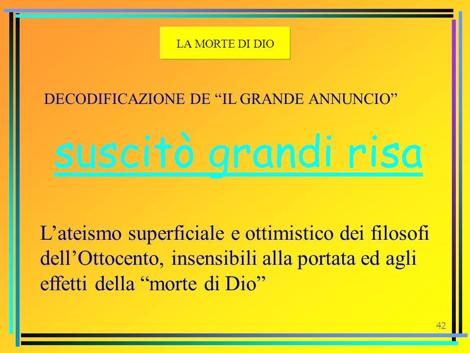 41 DECODIFICAZIONE DE IL GRANDE ANNUNCIO folle uomo E il filosofo – profeta LA MORTE DI DIO