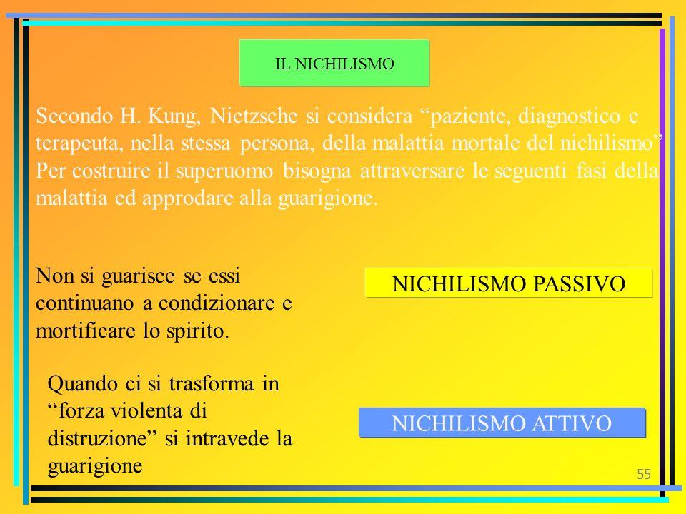54 Il nichilismo Crisi delle certezze etiche-religiose- metafisiche Nichilismo incompleto –sostituisce i vecchi valori con nuovi valori (nazionalismo,