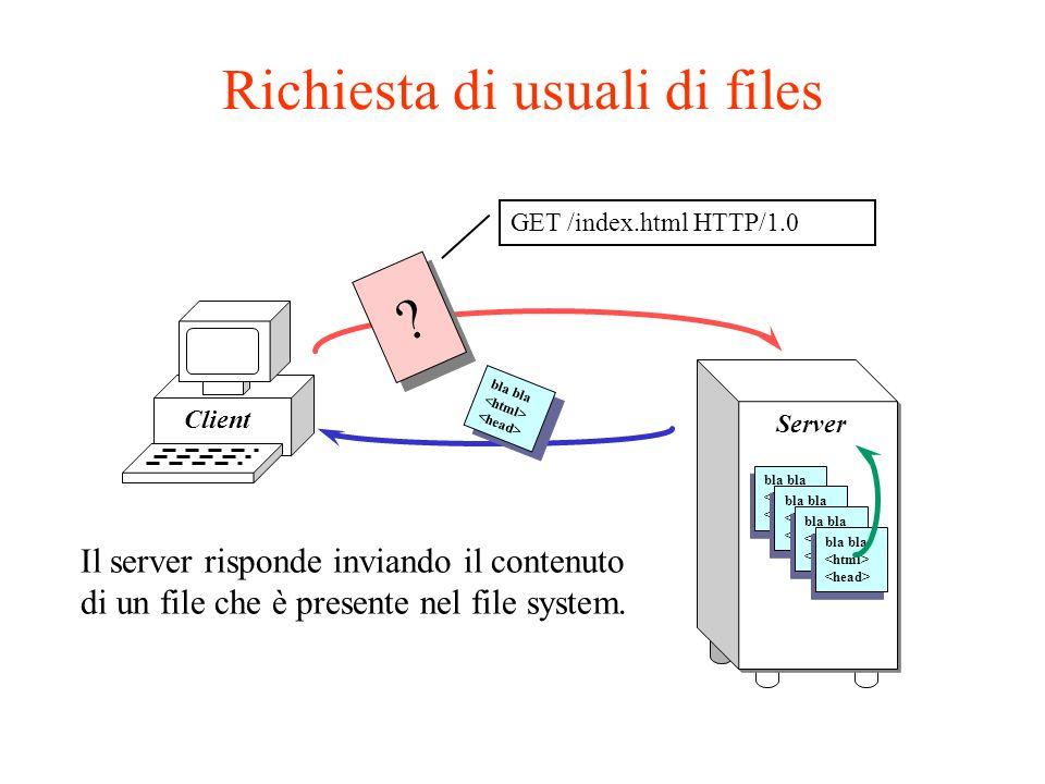 Esecuzione di un CGI Client GET /cgi-bin/program?par1+par2 HTTP/1.0 Server program bla bla .