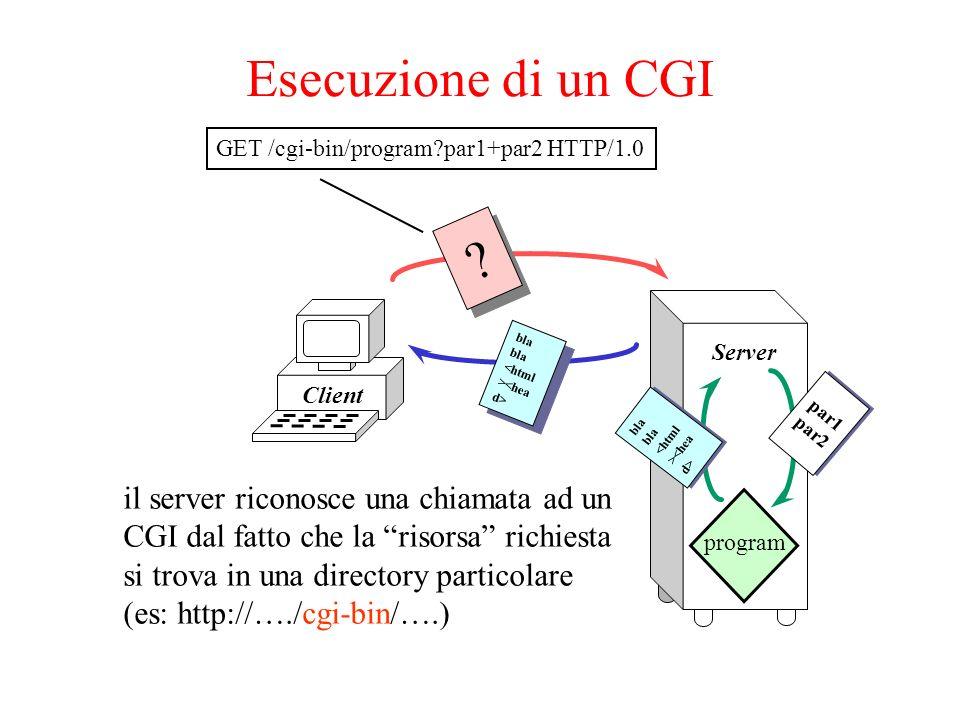 Passaggio sulla linea di comando il client invia una richiesta http: GET /cgi-bin/mioprog?val1+val2 HTTP/1.0 il server esegue: mioprog val1 val2 nel codice del programma mioprog.c i parametri potranno essere recuperati in questo modo: main(int argc, char** argv) { … argv[1]; /* contiene val1 */ argv[2]; /* contiene val2 */ … } main(int argc, char** argv) { … argv[1]; /* contiene val1 */ argv[2]; /* contiene val2 */ … }