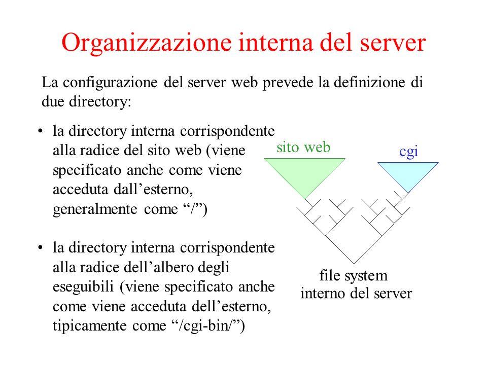 Input e output del CGI program un pacchetto GET viene inviato quando: –Lutente specifica lURL di un CGI –Si clicca un link allURL di un CGI –Invio dati da una FORM con METHOD=GET un pacchetto POST viene inviato quando: –Invio dati da una FORM con METHOD=POST Linput di un CGI è una sequenza di valori o di coppie nome=valore I dati vengono mandati al server tramite pacchetti GET o POST del protocollo http.
