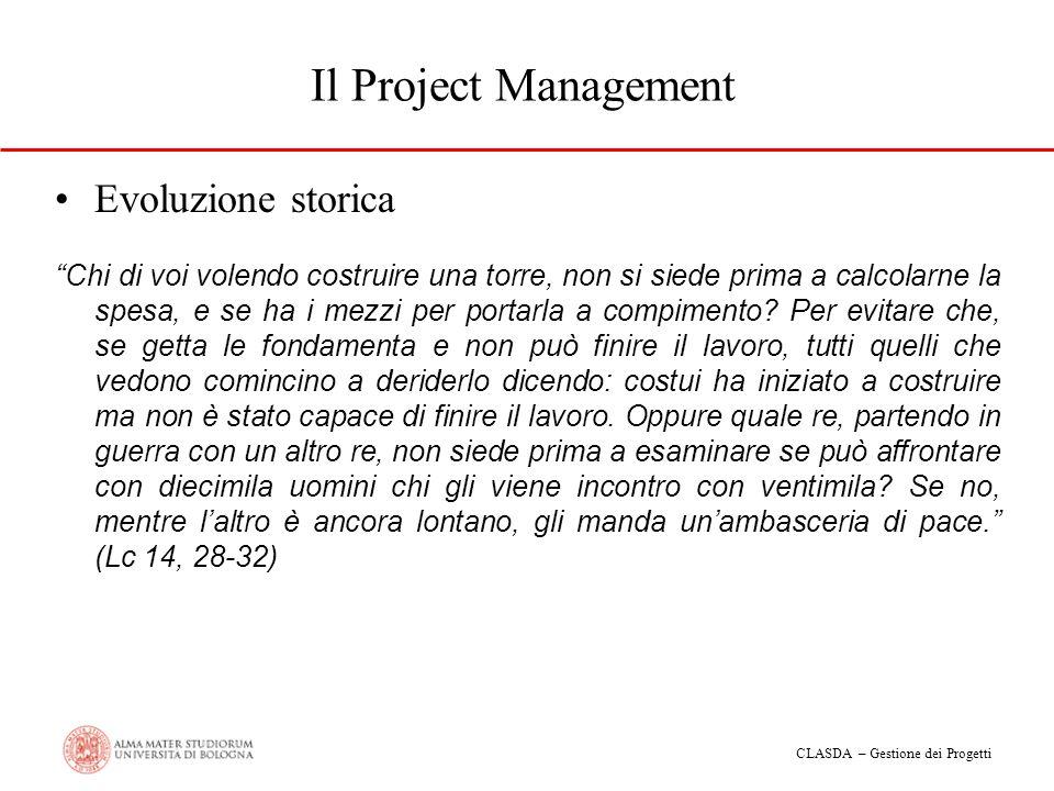 CLASDA – Gestione dei Progetti Il Project Management Evoluzione storica Chi di voi volendo costruire una torre, non si siede prima a calcolarne la spe
