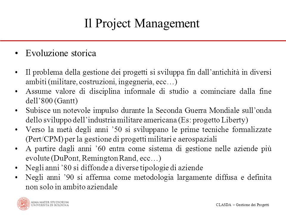 CLASDA – Gestione dei Progetti Il Project Management Evoluzione storica Il problema della gestione dei progetti si sviluppa fin dallantichità in diver