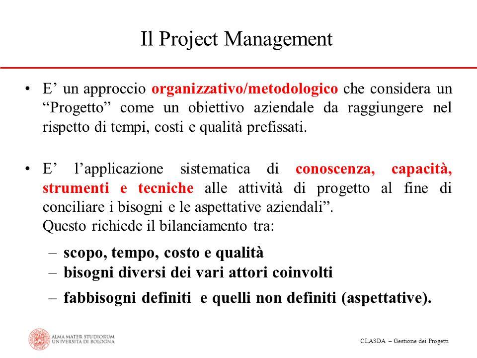 CLASDA – Gestione dei Progetti Il Project Management E un approccio organizzativo/metodologico che considera un Progetto come un obiettivo aziendale d
