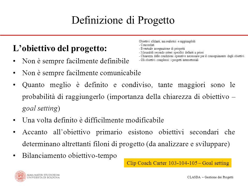 CLASDA – Gestione dei Progetti Definizione di Progetto Lobiettivo del progetto: Non è sempre facilmente definibile Non è sempre facilmente comunicabil