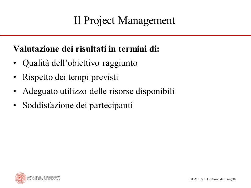 CLASDA – Gestione dei Progetti Il Project Management Valutazione dei risultati in termini di: Qualità dellobiettivo raggiunto Rispetto dei tempi previ
