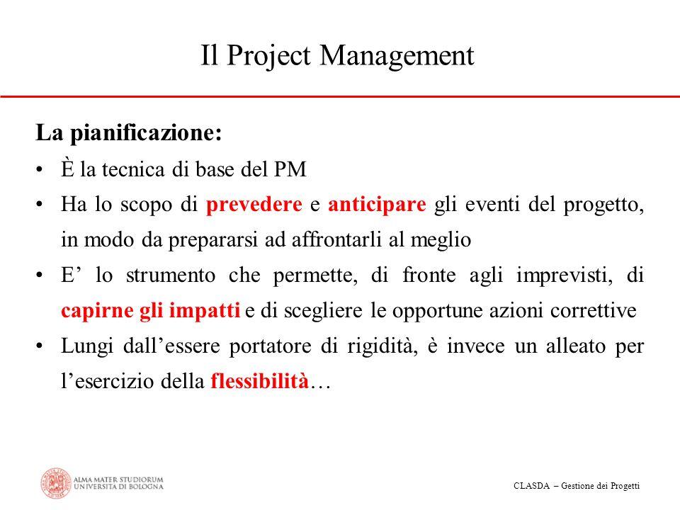 CLASDA – Gestione dei Progetti Il Project Management La pianificazione: È la tecnica di base del PM Ha lo scopo di prevedere e anticipare gli eventi d
