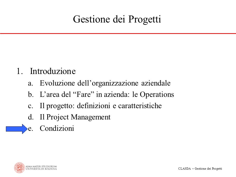 CLASDA – Gestione dei Progetti Gestione dei Progetti 1.Introduzione a.Evoluzione dellorganizzazione aziendale b.Larea del Fare in azienda: le Operatio