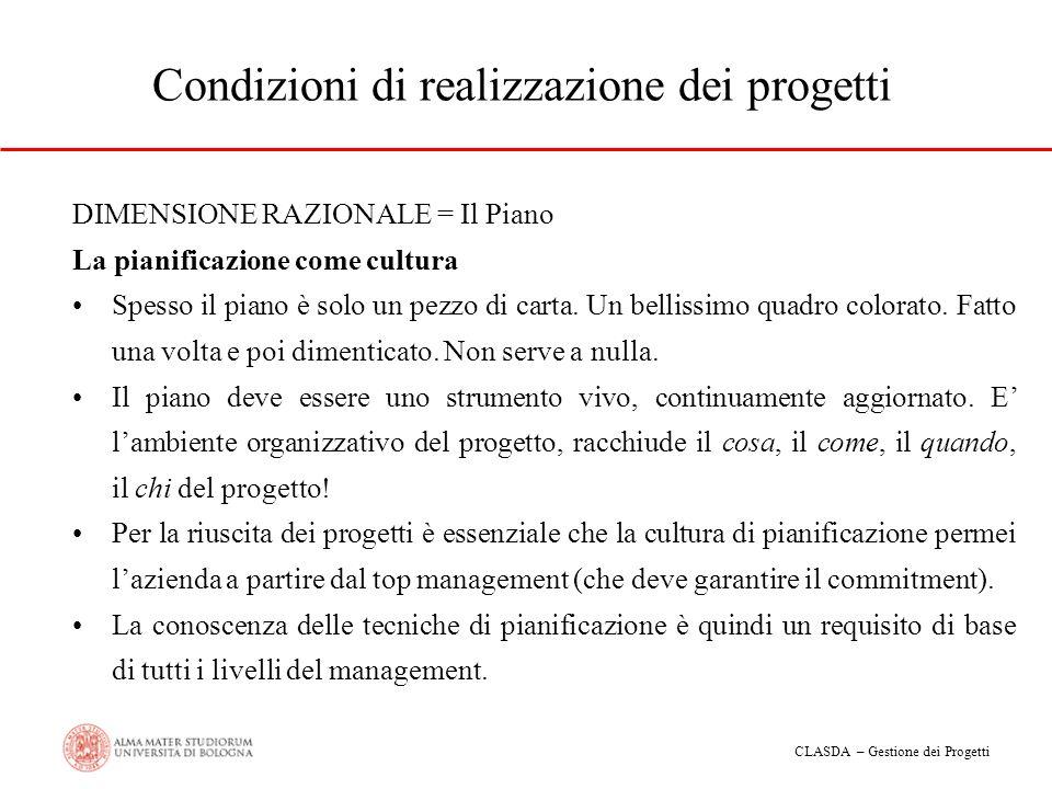 CLASDA – Gestione dei Progetti Condizioni di realizzazione dei progetti DIMENSIONE RAZIONALE = Il Piano La pianificazione come cultura Spesso il piano