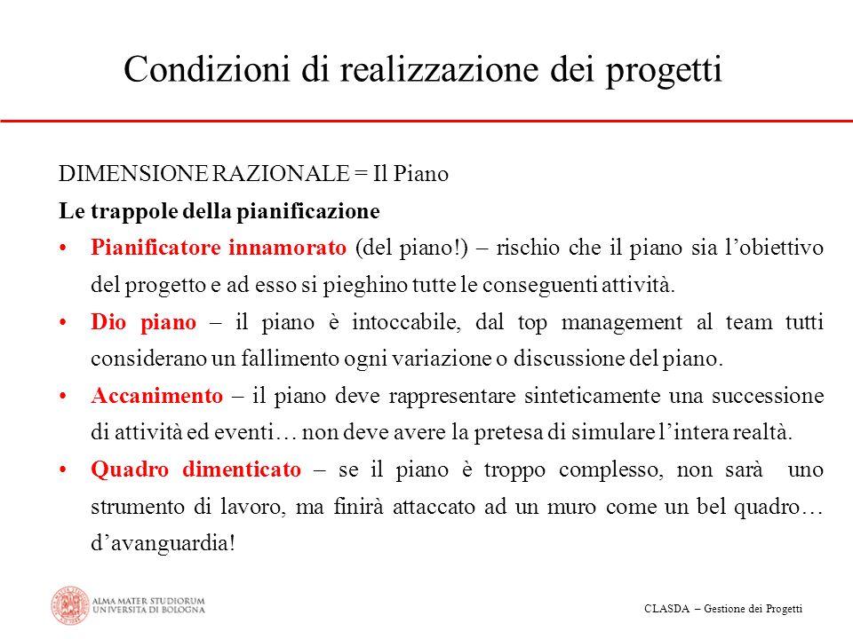 CLASDA – Gestione dei Progetti Condizioni di realizzazione dei progetti DIMENSIONE RAZIONALE = Il Piano Le trappole della pianificazione Pianificatore