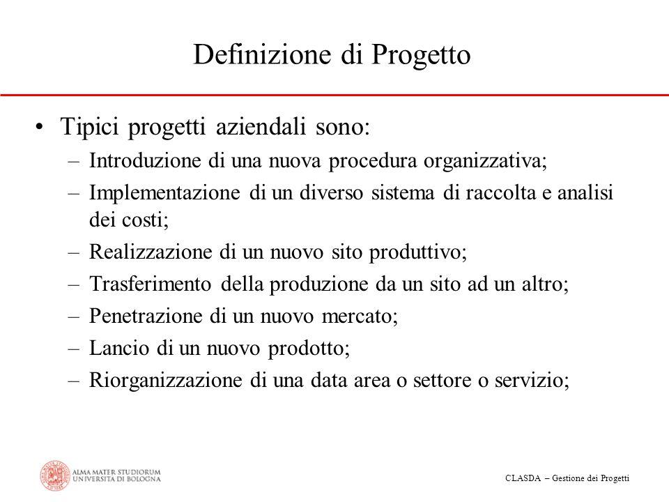 CLASDA – Gestione dei Progetti Definizione di Progetto Tipici progetti aziendali sono: –Introduzione di una nuova procedura organizzativa; –Implementa
