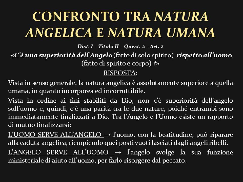 CONFRONTO TRA ANGELO E ANIMA UMANA CONFRONTO TRA ANGELO E ANIMA UMANA Dist.