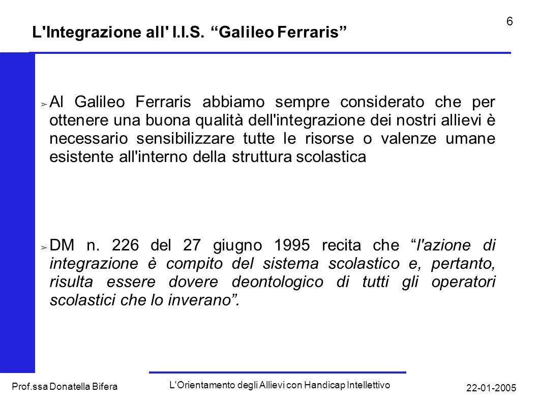 22-01-2005 L Orientamento degli Allievi con Handicap Intellettivo Prof.ssa Donatella Bifera 6 L Integrazione all I.I.S.