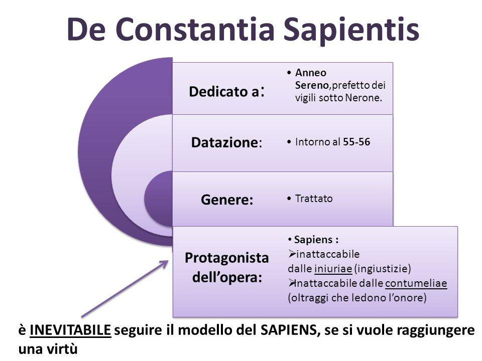 De Constantia Sapientis Dedicato a : Datazione: Genere: Anneo Sereno,prefetto dei vigili sotto Nerone. Intorno al 55-56 Trattato Protagonista delloper