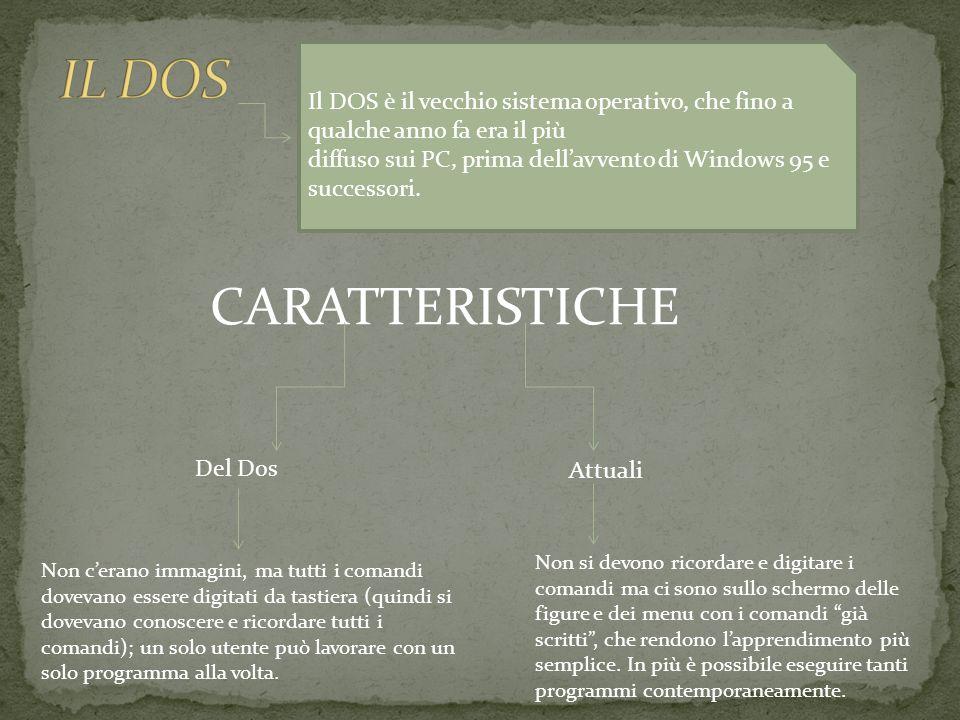 Queste caratteristiche, soprattutto la facilità dapprendimento hanno fatto di Windows il sistema più utilizzato e del Dos un sistema vecchio.