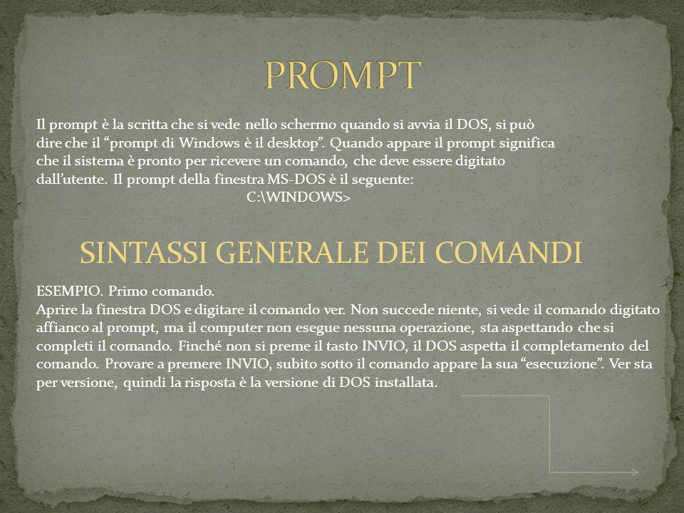 Alcuni comandi prevedono anche dei parametri e/o delle opzioni, cioè non è sufficiente digitare il nome del comando.