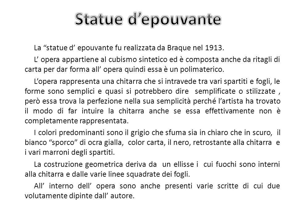 La statue d epouvante fu realizzata da Braque nel 1913. L opera appartiene al cubismo sintetico ed è composta anche da ritagli di carta per dar forma