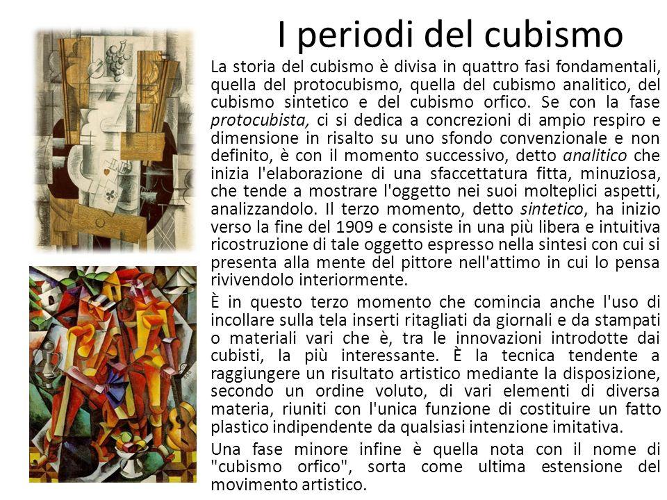 I periodi del cubismo La storia del cubismo è divisa in quattro fasi fondamentali, quella del protocubismo, quella del cubismo analitico, del cubismo sintetico e del cubismo orfico.