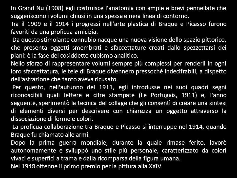 Testa di donna (1912) Uomo con pipa (1912) Le quotidien , violino e pipa (1913) Natura morta con carte da gioco (1913) Violino e bicchiere (1913) Donna con chitarra (1913) Chitarra e programma: Statue d epouvante (1913) Clarinetto (1913) Aria di Bach (1913-1914) Bottiglia di Eau de vie (1914) Uomo con chitarra (1914) Canefora (1926) Tavolino (1929) Grande natura morta (1932) Duo (1937) Pazienza (1942) Uccelli (1954-1962) Violino e tavolozza (1910) Paesaggio presso Anversa (1906) Strada all Estaque (1906) Piccola baia a La Ciotat (1907) Veduta dell Estaque dall hotel Mistral (1907) Pianoforte e mandorla (1909-1910) case all estaque (1908) Mandorla (1910) Violino, bicchiere e coltello (1910) Il flauto (1910-1911) Violino (1911) Tavolino (1911) Omaggio a Bach (1911-1912) Il portoghese (1911-1912) Natura morta con grappolo d uva Sorgues (1912) Fruttiera e bicchiere (1912) Violino: Mozart/Kubelick (1912) Uomo con violino (1912)