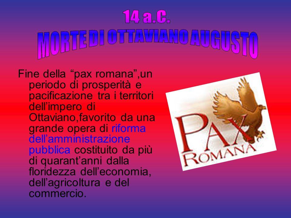 Fine della pax romana,un periodo di prosperità e pacificazione tra i territori dellimpero di Ottaviano,favorito da una grande opera di riforma dellamm