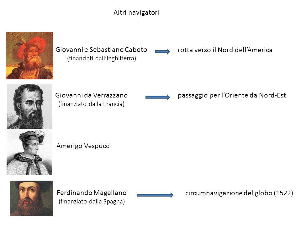 Altri navigatori Giovanni e Sebastiano Caboto (finanziati dallInghilterra) rotta verso il Nord dellAmerica Giovanni da Verrazzano (finanziato dalla Fr