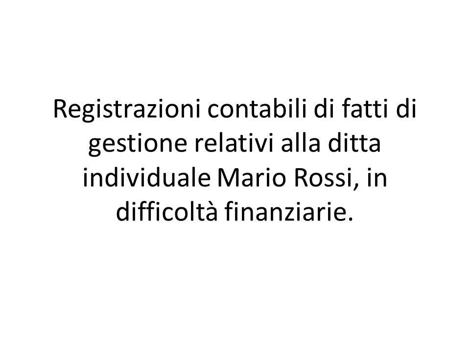 Il 4/02/2012 la Mario Rossi chiede ed ottiene il rinnovo per 30 giorni di una cambiale passiva in scadenza nei confronti del fornitore Marchetti.