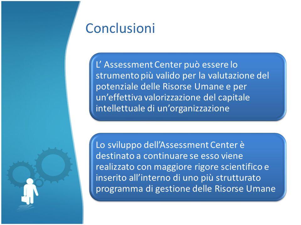 Conclusioni L Assessment Center può essere lo strumento più valido per la valutazione del potenziale delle Risorse Umane e per uneffettiva valorizzazi