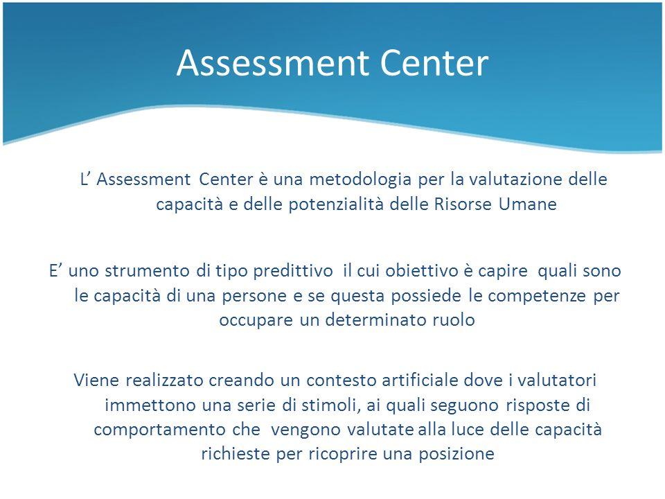 Assessment Center E uno strumento di tipo predittivo il cui obiettivo è capire quali sono le capacità di una persone e se questa possiede le competenz