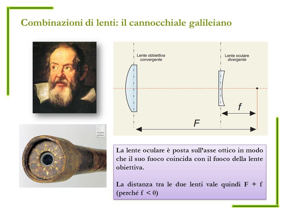 Combinazioni di lenti: il cannocchiale galileiano La lente oculare è posta sullasse ottico in modo che il suo fuoco coincida con il fuoco della lente