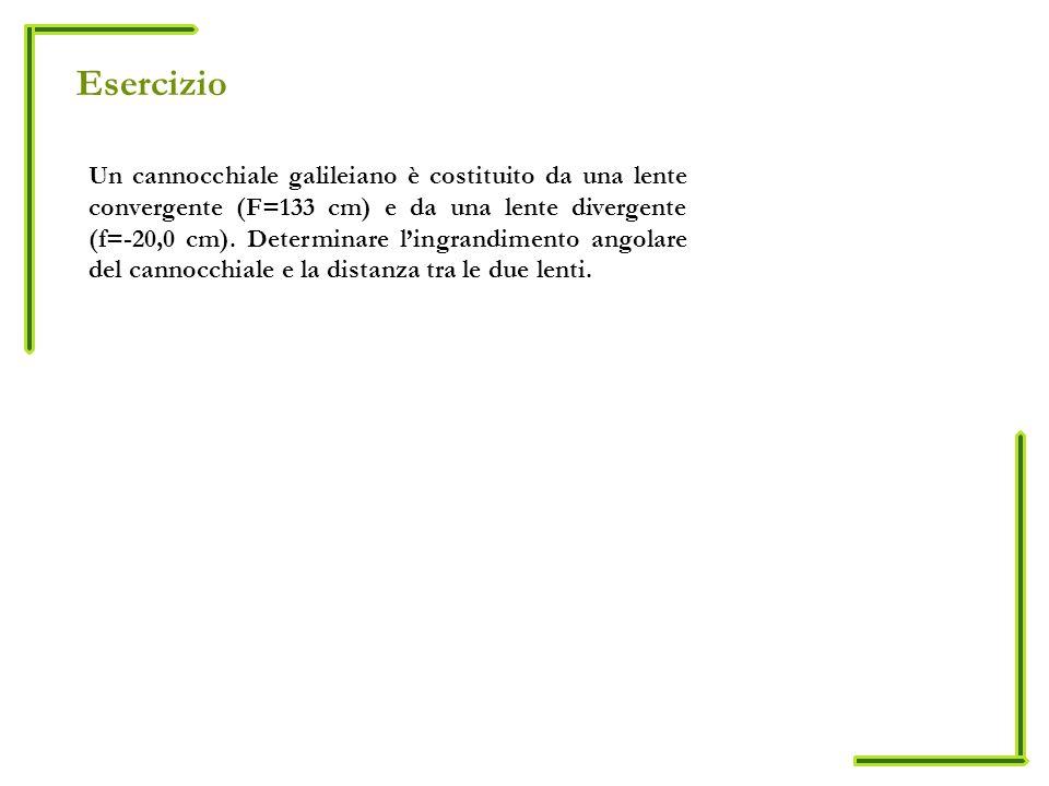 Esercizio Un cannocchiale galileiano è costituito da una lente convergente (F=133 cm) e da una lente divergente (f=-20,0 cm).