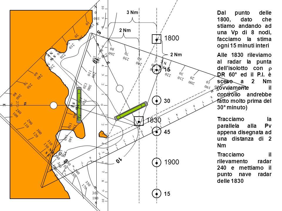 5 5 10 Dal punto delle 1800, dato che stiamo andando ad una Vp di 8 nodi, facciamo la stima ogni 15 minuti interi Alle 1830 rileviamo al radar la punt