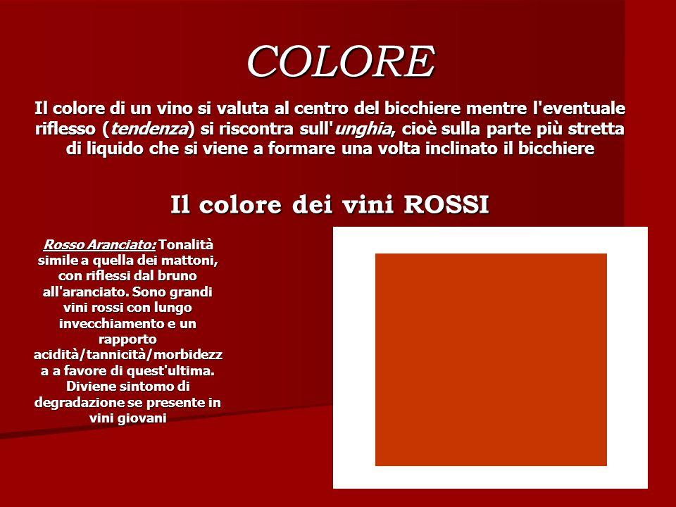 COLORE Il colore di un vino si valuta al centro del bicchiere mentre l'eventuale riflesso (tendenza) si riscontra sull'unghia, cioè sulla parte più st