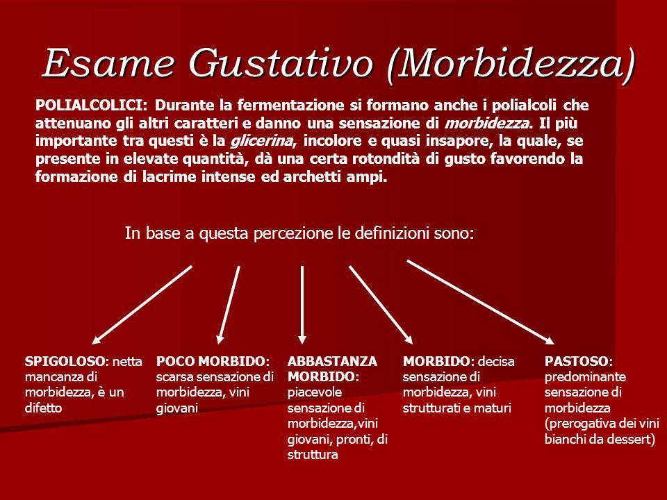 Esame Gustativo (Morbidezza) POLIALCOLICI: Durante la fermentazione si formano anche i polialcoli che attenuano gli altri caratteri e danno una sensaz