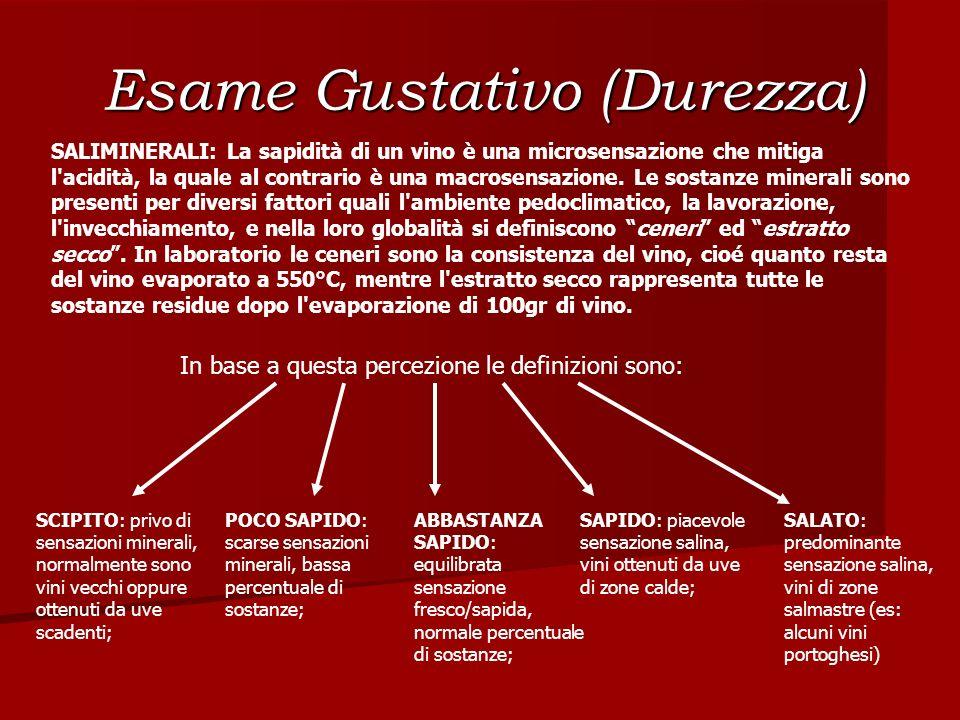 Esame Gustativo (Durezza) SALIMINERALI: La sapidità di un vino è una microsensazione che mitiga l'acidità, la quale al contrario è una macrosensazione