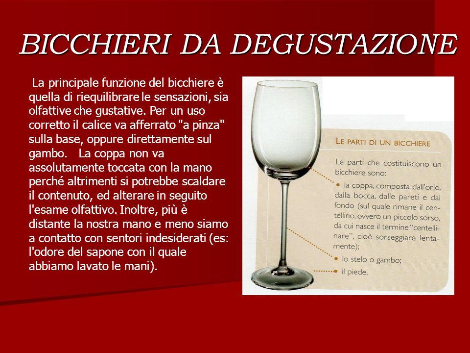BICCHIERI DA DEGUSTAZIONE La principale funzione del bicchiere è quella di riequilibrare le sensazioni, sia olfattive che gustative. Per un uso corret