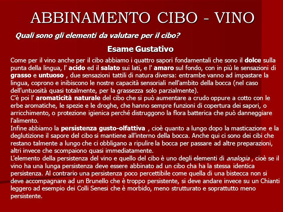 ABBINAMENTO CIBO - VINO Quali sono gli elementi da valutare per il cibo? Esame Gustativo Come per il vino anche per il cibo abbiamo i quattro sapori f